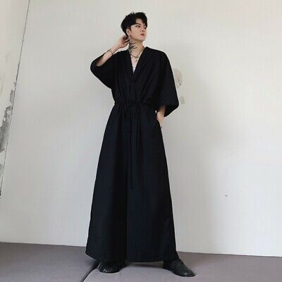 $52.19 • Buy Fashion Men's Jumpsuit Pants Summer Straight Wide Leg Drawstring Flared Trousers