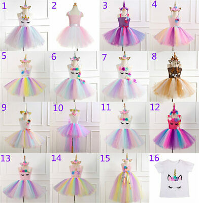 £8 • Buy Kids Flower Girls Party Unicorn Tutu Tulle Fancy Dress Costume Dancing Outfit
