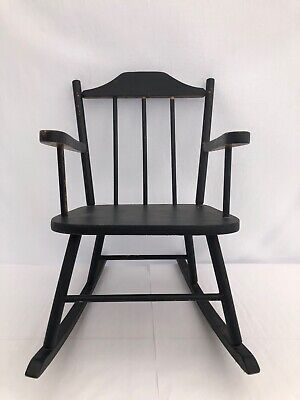 $320 • Buy Wooden Child's Rocking Chair With Spindle Back, Painted Black