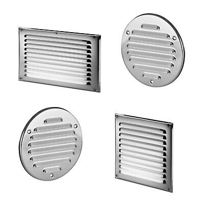 Polished Chrome Air Vent Grille With Fly Screen Metal Ventilation Ducting Cover • 5.92£