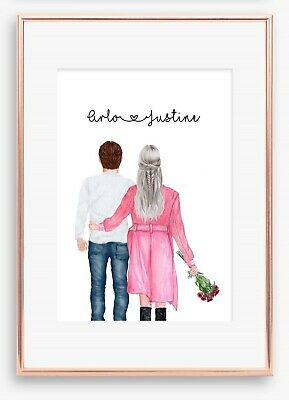 AU19.49 • Buy A4 Love Couple Boyfriend Wall Print/Sign Unique Gift Personalised Valentines Day