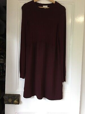 AU30 • Buy Witchery Size 12 Burgundy Red Long Sleeve Dress, Knit Bodice With Crepe Skirt