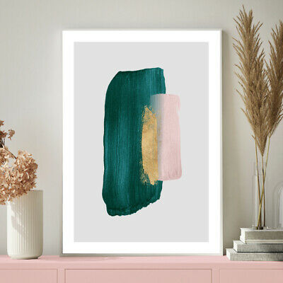 Green Gold Pink Wall Art Watercolour Living Room / Bedroom Painting Print Poster • 9.99£