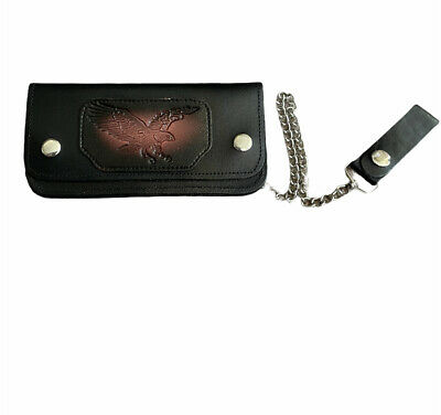 £16.99 • Buy Mens Biker,Rocker,Style Long Eagle  Embossed  Leather Wallet With Security Chain
