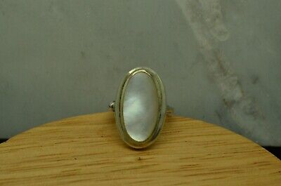 $24.22 • Buy 925 Sterling Silver Big White Oval Mother Of Pearl Ring Band Size 6 #27346