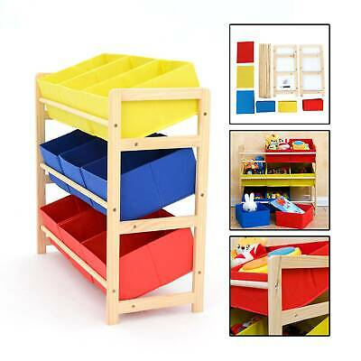 Yellow Blue & Red 3 Tier Toy Unit 9 Canvas Boxes Drawers Kids Childrens Storage • 25.49£