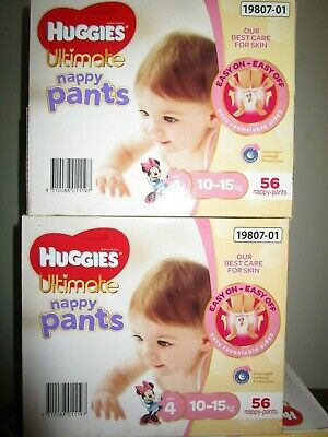 AU22.46 • Buy Huggies Ultimate Nappy Pants Nappies Girls Size 4  Toddler 10-15kg+     56 Count