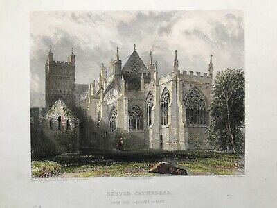 £7.99 • Buy 1837 Antique Print; Exeter Cathedral, Devon After Garland & Salmon