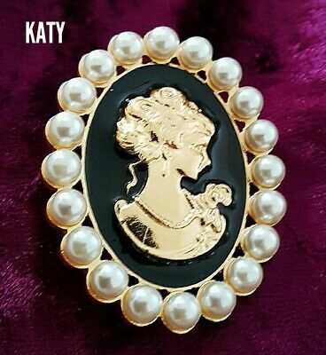 Vintage Victorian Style Large Faux Pearl Cameo Gold Brooch Enamel Pin Broach  • 6.20£