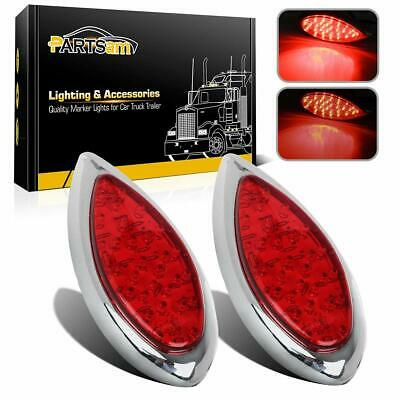 $89.99 • Buy 2 X Red Led Chrome Tear Drop Truck Trailer Stop Turn Brake Tail Lights Brand New