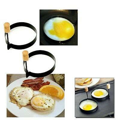 2 Metal Egg Frying Rings Fry Fried Poacher Mould Perfect For Pancakes Ring. • 3.49£