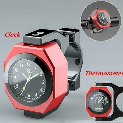 $28.99 • Buy Aluminum Motorcycle Handlebar Clock Thermometer Analogue Dial Watch Night View