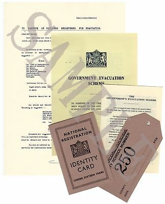 WW2 Evacuee Documents Pack - Inc. I.D. Card, Tag And Pamphlets (Exact Copies) • 8£
