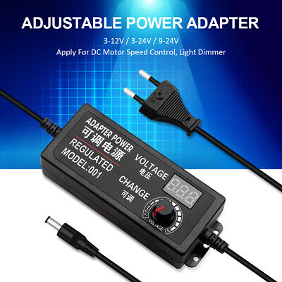 Adjustable Voltage Power Supply Adapter AC /DC Switch W/ LED Display EU US UK   • 6.60£