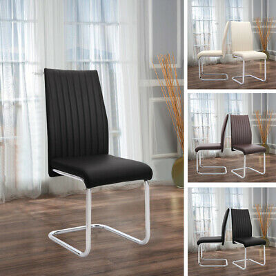 £95.95 • Buy Set Of 2 Dining Chairs Chrome Z Shape Base Kitchen PU Leather Padded Chair Home