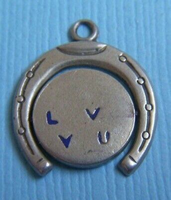 Vintage Enamel Movable I Love You Spinner Sterling Charm • 17.87£
