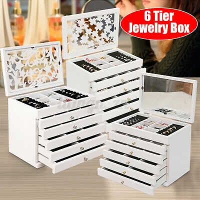 AU49.99 • Buy Large Wooden Jewellery Box Ring Display Organiser Storage Cabinet Glass Top Gift