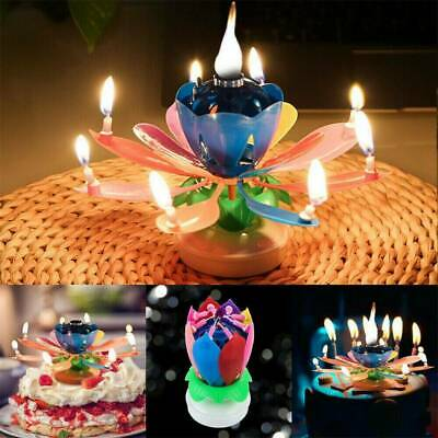 $ CDN3.39 • Buy Gift Lotus Candle Birthday Flower Musical Rotating Floral Cake Candles Music