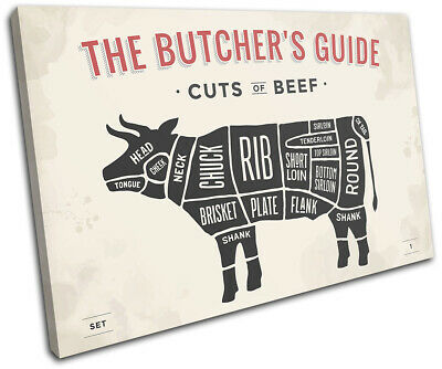 £19.99 • Buy Meat Beef Butcher Cow Cuts Food Kitchen SINGLE CANVAS WALL ART Picture Print