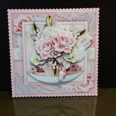 Handmade Decoupaged Card Topper For Birthday, Wedding Or More/ 6 X 6 Inch • 2.35£