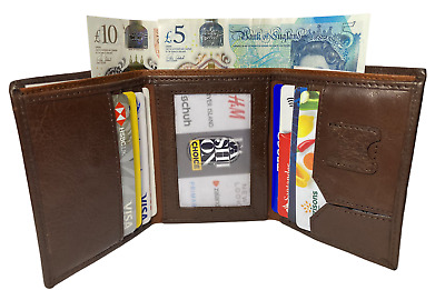 $ CDN8.68 • Buy Mens Quality Soft Real Leather Brown Trifold Wallet 8 Credit Card & Id Holder