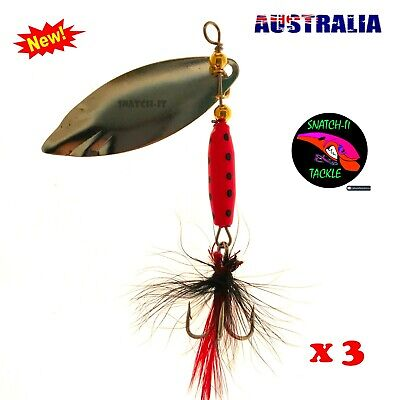 AU6.99 • Buy 3 X Fishing Freshwater Spinner Lures, Trout Lure, Redfin, Perch, Bass, Tackle