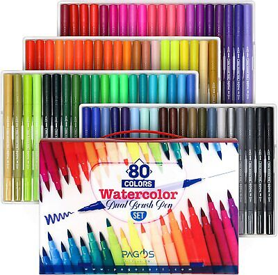 $30.78 • Buy Pagos 80 Colors Dual Brush Pen Set Watercolor Art Markers 2-Sided Tips Acid Free