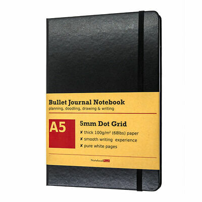 AU25.67 • Buy Dot Grid Notebook For Bullet Journal, Thick Dotted Paper Black Leather Cover A5
