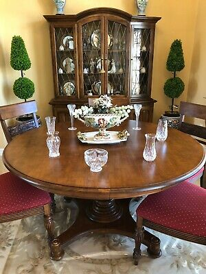 $1950 • Buy Ethan Allen Dining Set - Pedestal Dining Table & 6 Side Chairs