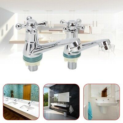 £9.59 • Buy 2X Taps Twin Traditional Bath Bathroom Basin Sink Chrome Hot And Cold Tap System