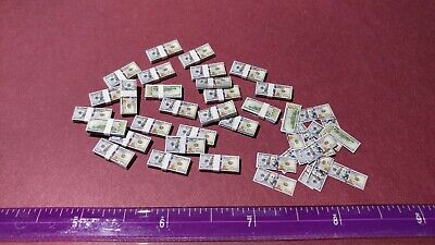 $29.99 • Buy 1/12 Scale 20 Stacks + 15 Loose Miniature Money Lot Of 175.   100 Dollar Bills
