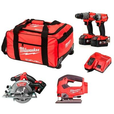 Milwaukee M18 18V 4 Piece Fuel Cordless Kit 3x 5.0Ah Batteries & Charger • 759.95£