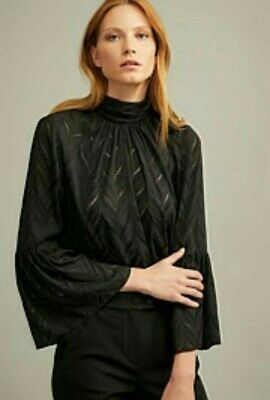AU30 • Buy Witchery Black Sheer Detail High Neck Blouse Size 16