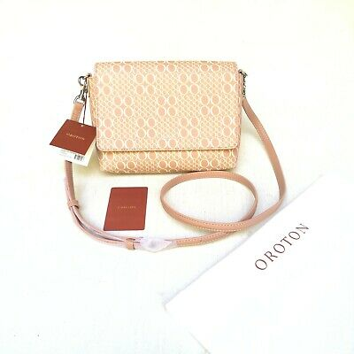 AU119 • Buy NEW Oroton Cross Body Side Bag Harriet Signature Biscuit Beige