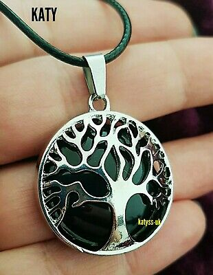 Black Obsidian Healing Tree Of Life Silver  Pendant Leather Cord Necklace Gift • 6.80£