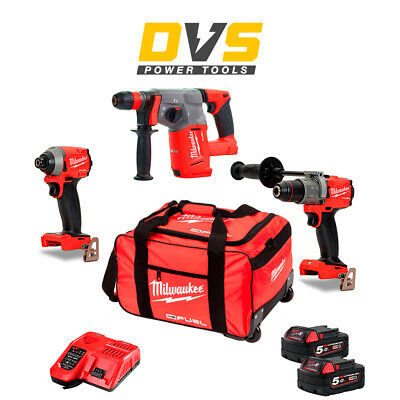 £599.95 • Buy Milwaukee M18 18V 3 Piece Fuel Cordless Kit 2x 5.0Ah Batteries & Charger