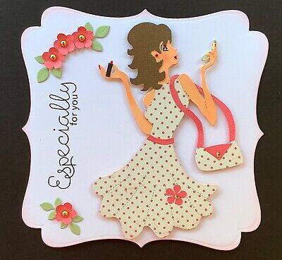 A Handmade Birthday /any Occasion Card Topper Of A Lady With Lipstick & Mirror  • 1.99£