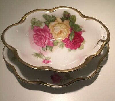 $17.95 • Buy Vintage J & C Louise Bavaria Condiment Bowl And Underplate Pink & Yellow Roses
