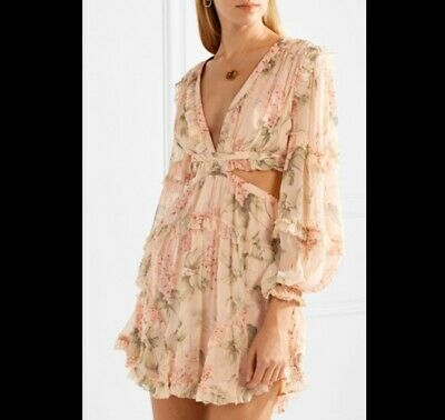 $450 • Buy NWT Authentic Zimmermann Prima Floating Floral Cutout Dress 0