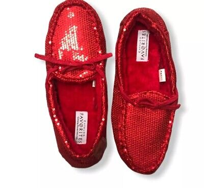 $18.99 • Buy Womens Red Loafers Flats Sequin Comfort Moccasins Size Medium Bling Sparkle