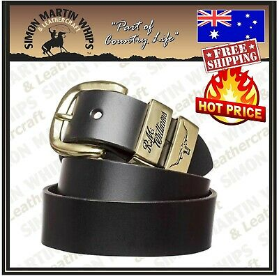 AU85 • Buy RM Williams 1.5 Inch Solid Leather Belt Black With Gold Buckle - Australian Made