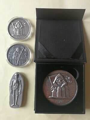 $ CDN456 • Buy 10 Oz (4 Pcs) 1 To 5oz Skeleton Tombstone Silver Bar Round Antique Finished