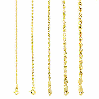 $214.31 • Buy 14K Yellow Gold 1.5mm-4mm Italian Rope Chain Pendant Necklace Mens Women 16 -30