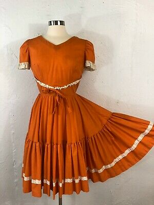$39.99 • Buy VTG Square Dance Dress Malco Modes Sm Western Rockabilly Orange White Lace Trim