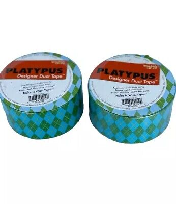 $19.77 • Buy Platypus Designer Duct Tape Roll - Argyle Green Blue Pattern 1.88 X 30' 2 Rolls