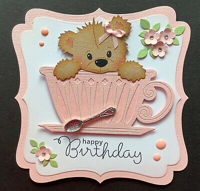 A Handmade Birthday Card Topper Of A Teddy In A Cup With A Spoon  1 • 1.99£