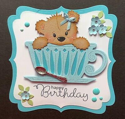 A Handmade Birthday Card Topper Of A Teddy In A Cup With A Spoon   2 • 1.99£