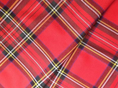 TARTAN WASHABLE POLY VISCOSE FABRIC 11oz MED WEIGHT-LARGE SELECTION-SAMPLE 6 X4  • 2.20£