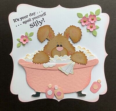 A Handmade Birthday/any Occasion Card Topper Of A Bunny In A Bubble  Bath • 1.99£