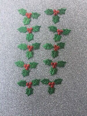 10 HOLLY BERRY LEAF Fabric Cut Outs CRAFT Card Making XMAS Decorations Green • 1£